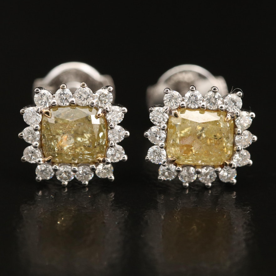 18K 2.55 CTW Diamond Stud Earrings with Halo