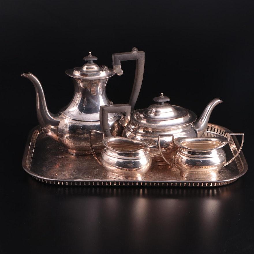 Eisenberg-Lozano Silver Plate Coffee and Tea Service on Frank Hawkner Tray