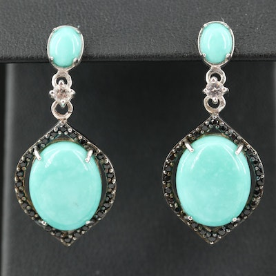 Sterling Turquoise, Black Spinel and White Topaz Earrings