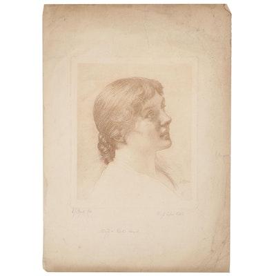 "Engraving After Edward John Poynter ""Study of a Girl's Head"""