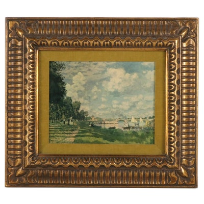 """Collotype After Claude Monet """"Boat Basin,"""" Early to Mid-20th Century"""