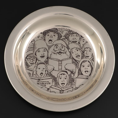 """Franklin Mint """"The Carolers"""" By Norman Rockwell Sterling Silver Plate, 1972"""