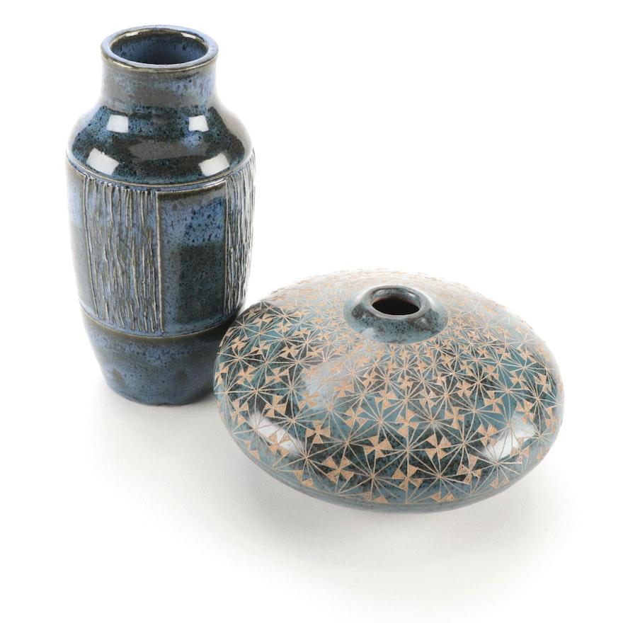 Leandro Lopez Burnished Pottery Disc Vase with Other Studio Art Pottery Vase