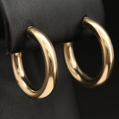 14K Round Tube Hoop Earrings