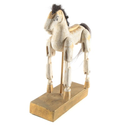 Giltwood Horse Marionette, 20th Century