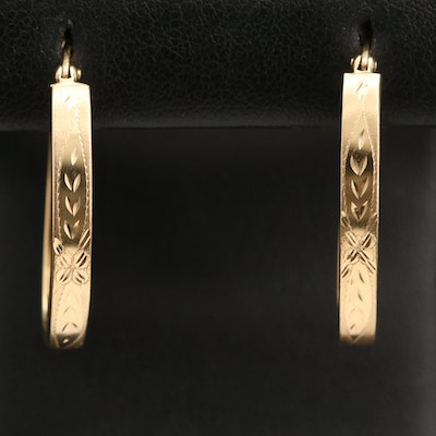 14K Oval Flat Hoop Earring with Floral Detail