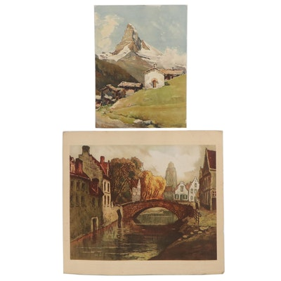 Offset Lithograph and Giclée of Village Scenes, Mid-20th Century