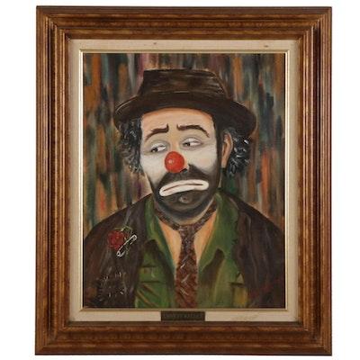 "Robert Montenaro Portrait Oil Painting ""Emmett Kelley,"" 1989"