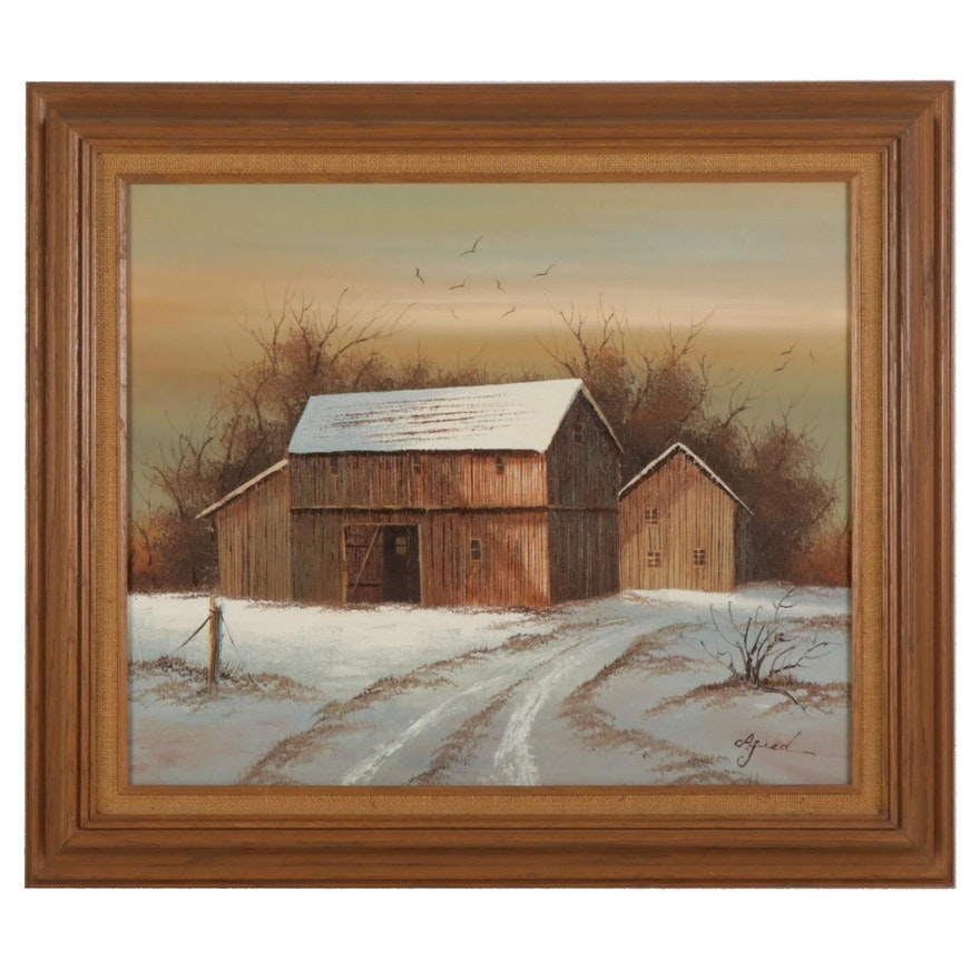 Barn Landscape Oil Painting, Circa 2000