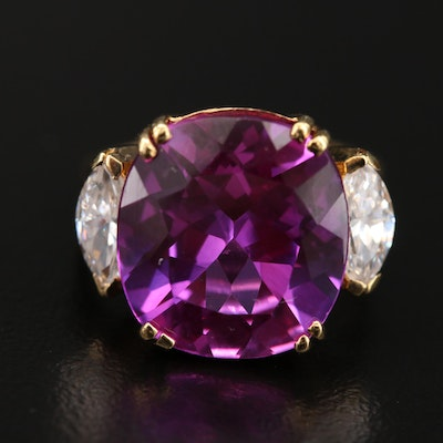 Sterling Sapphire and Cubic Zirconia  Ring