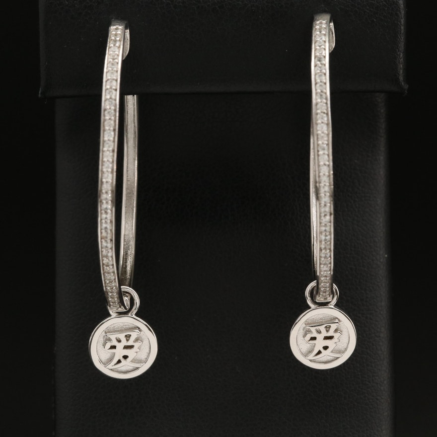 Eva LaRue Zircon Oval Hoop Earrings with Chinese Love Symbol Removable Charm