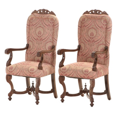 Pair of Baroque Style Carved Walnut Armchairs, 20th Century