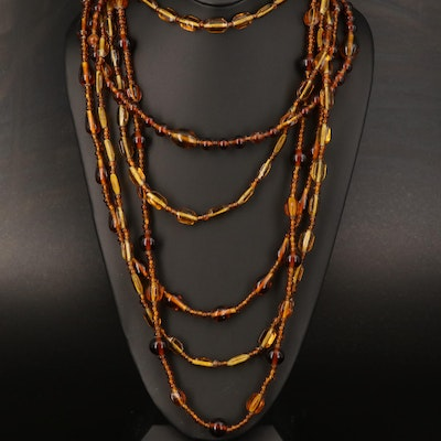 Multi Strand Amber Glass Beaded Necklace