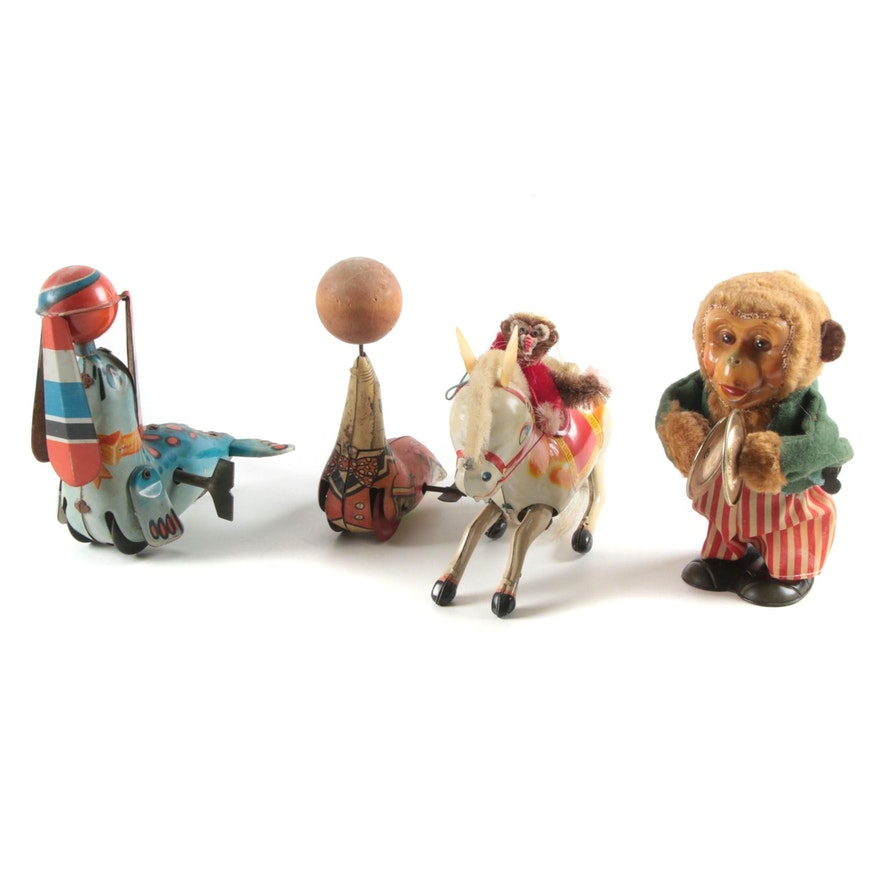 Seal, Monkey, and Horse Tin Lithograph Wind-Up Toys, Mid-20th Century