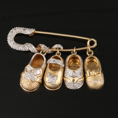 14K Diamond Baby Shoe Charms on Safety Pin