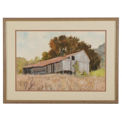 Watercolor and Gouache Painting of Abandoned Barn, Circa 2000