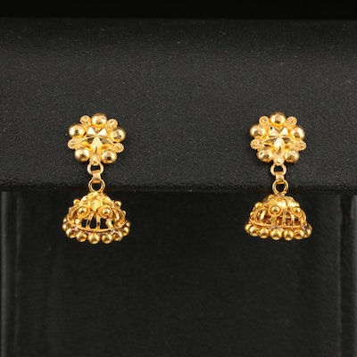 14K Star and Dome Drop Earrings