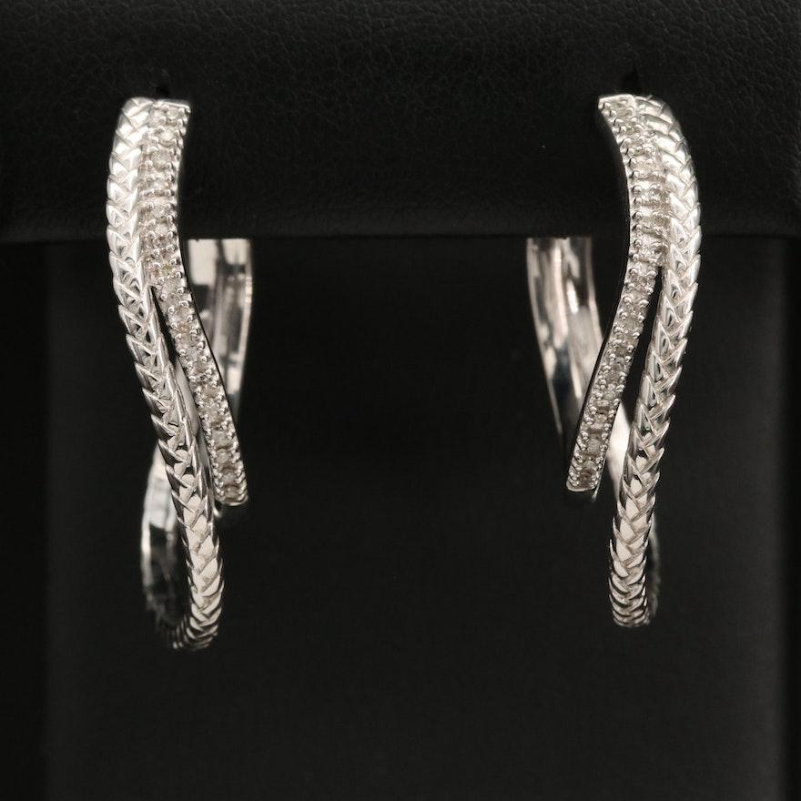 Sterling Silver Diamond Double Hoop Earrings