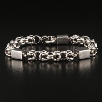 950 Silver Byzantine Chain Station Bracelet
