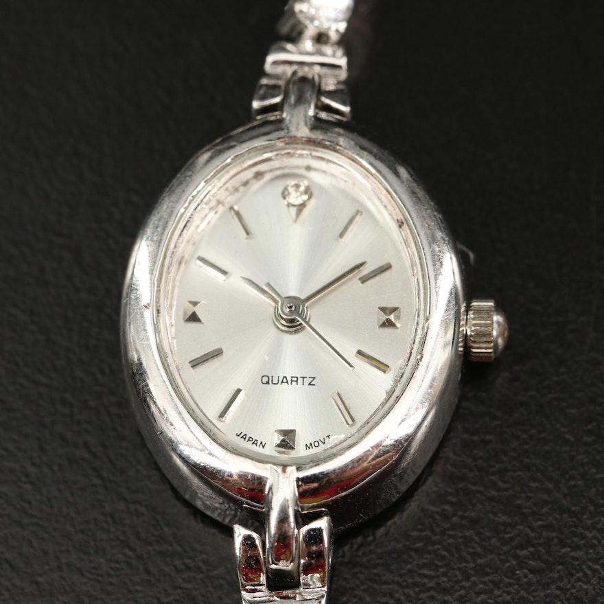 Amethyst and Cubic Zirconia Quartz Wristwatch