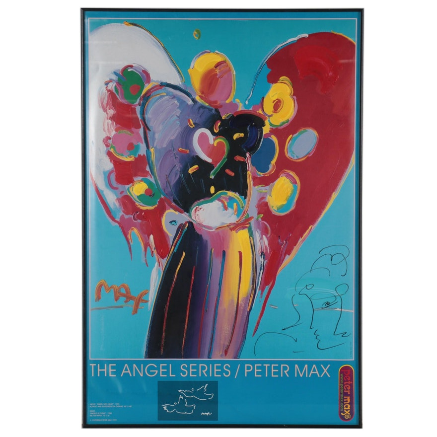 """Peter Max Acrylic Embellished Offset Lithograph """"Angel With Heart"""""""