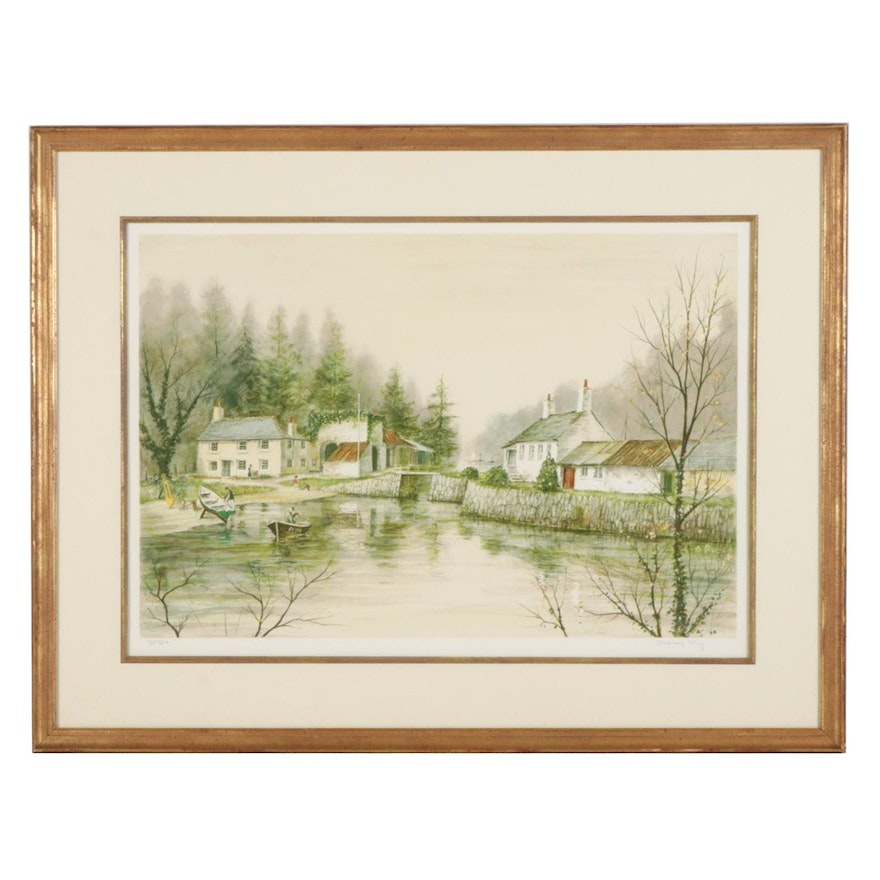 """Jeremy King Color Lithograph """"Pont Pill Creek, Cornwall,"""" 1982"""