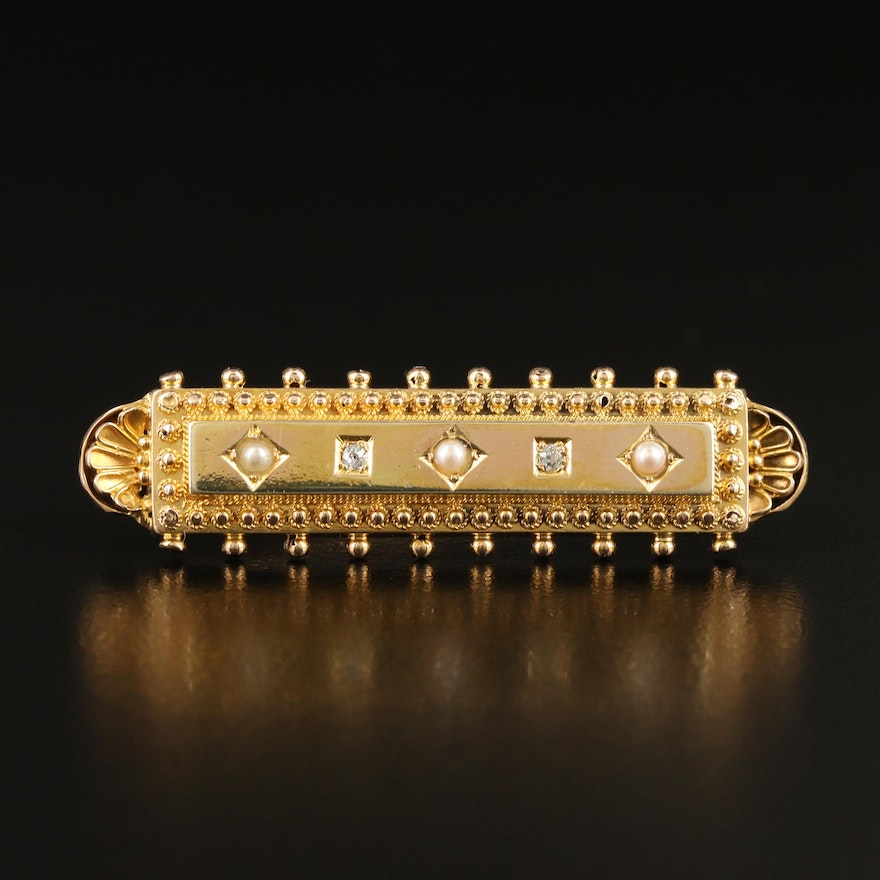 Victorian Etruscan Revival 14K Diamond and Seed Pearl Brooch