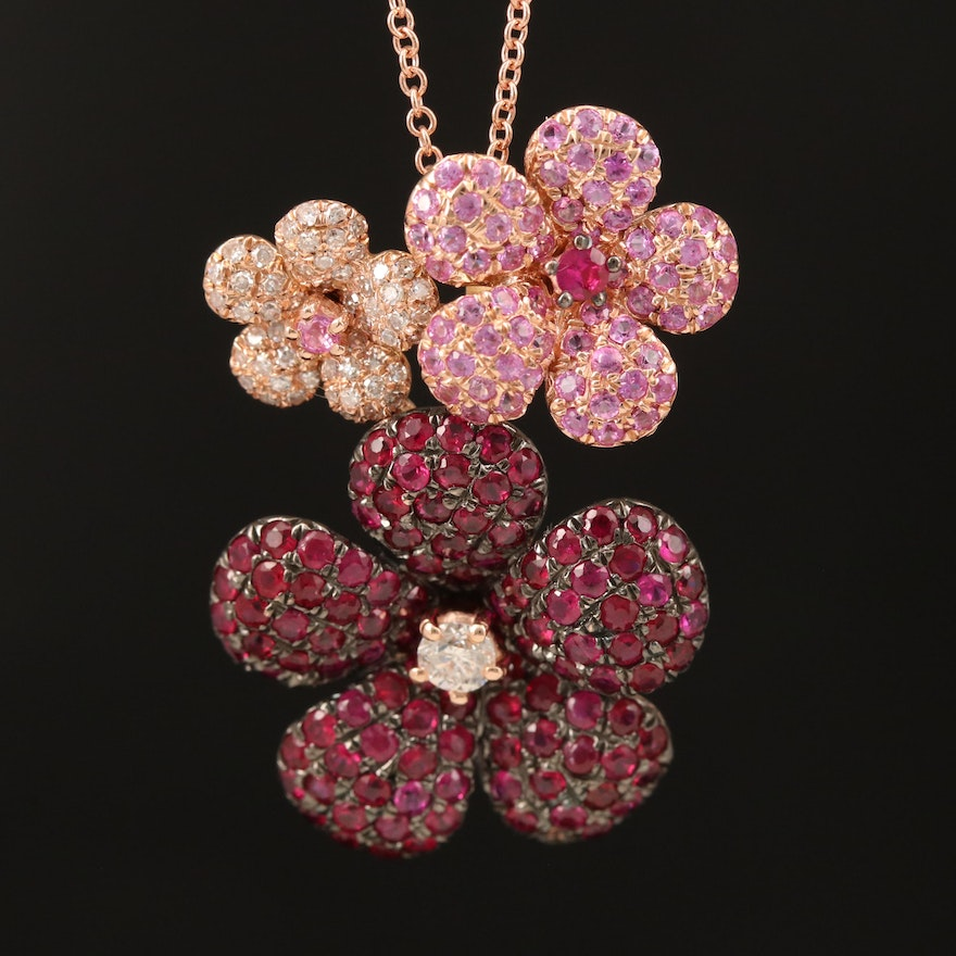 EFFY 14K Rose Gold Diamond, Sapphire and Ruby Flower Necklace