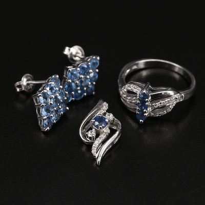 Sterling Sapphire and Zircon Jewelry Selection