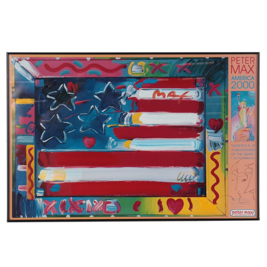 """Peter Max Acrylic Embellished Offset Lithograph """"America 2000,"""" 1999"""