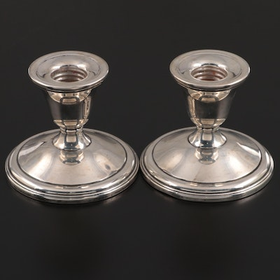 Pair of La Pierre Weighted Sterling Silver Candlesticks, Early to Mid-20th C.