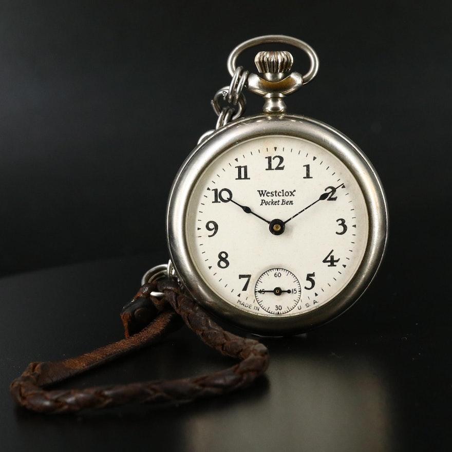 Antique Westclox Pocket Ben Open Face Pocket Watch