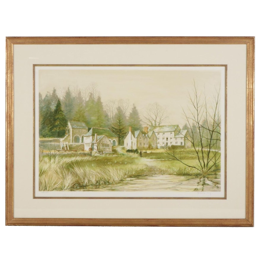 """Jeremy King Color Lithograph """"Morden Mill, Cotehele, Cornwall,"""" 1982"""