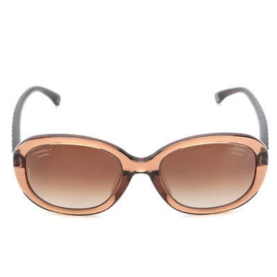 Chanel 5328-A Quilted Brown Polarized Sunglasses with case