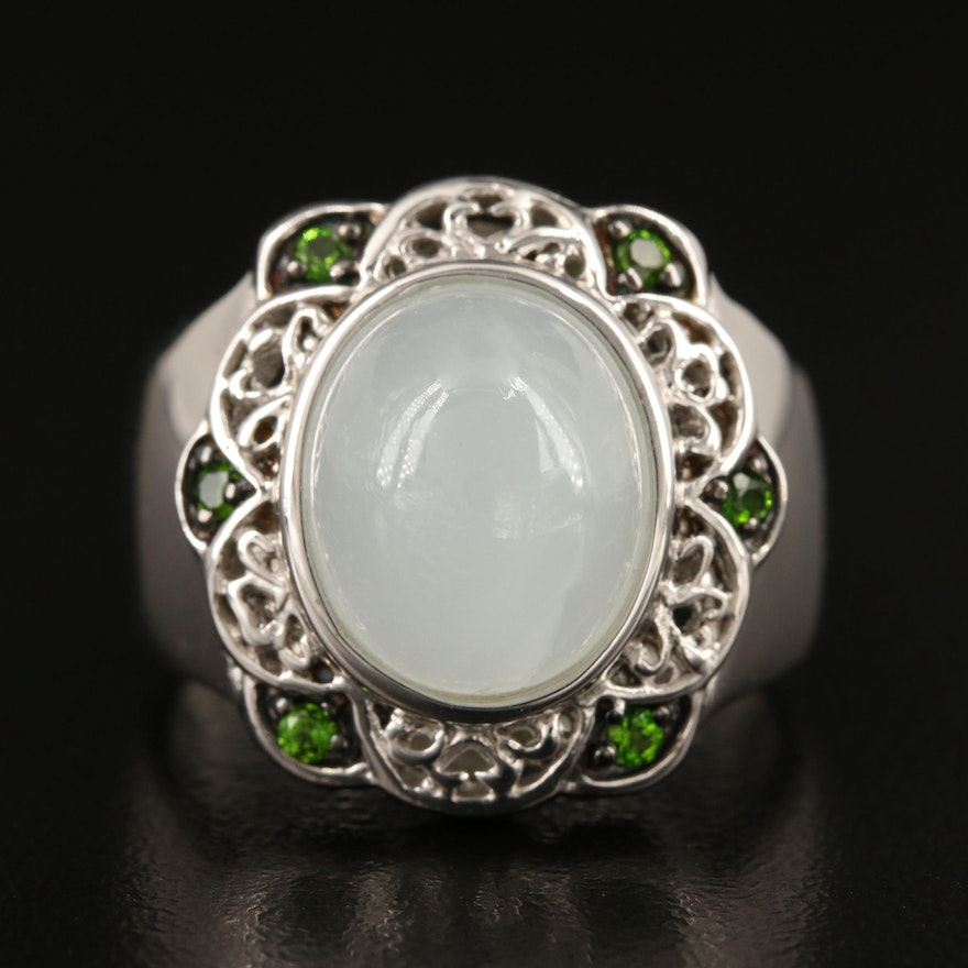 Sterling Aquamarine and Diopside Ring