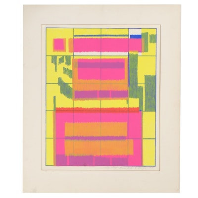 """Walter Stomps Serigraph """"Blue Grid,"""" 1978"""