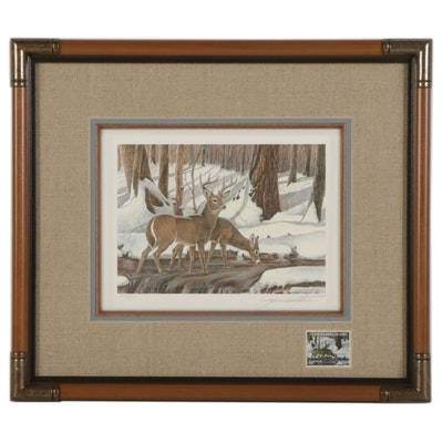 """John A. Ruthven Offset Lithograph With Stamp """"White-Tailed Deer,"""" 1989"""