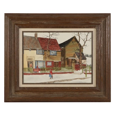 """H. Hargrove Embellished Serigraph """"The Old School House in Winter,"""" Circa 1981"""