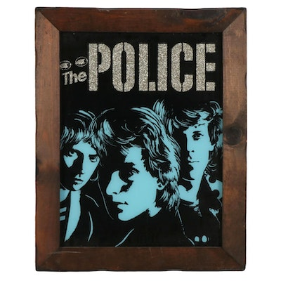 The Police Reggatta de Blanc Poster With Glitter Letters In Wooden Frame