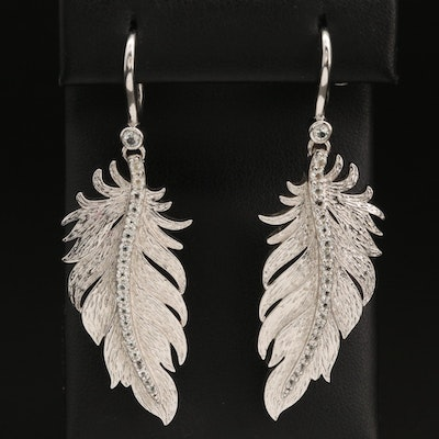 Sterling Silver and Topaz Feather Earrings