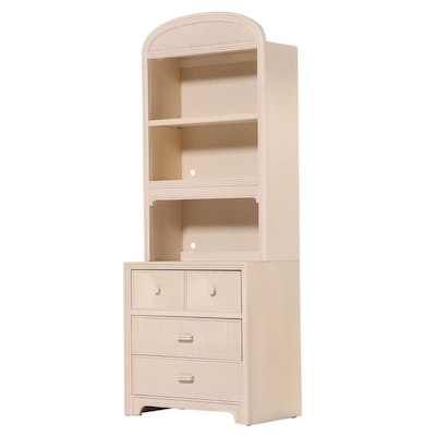 Stanley Furniture Co. Art Deco Style Cream-Painted and Bamboo-Decorated Bookcase