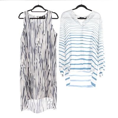 Theory Silk Striped Sleeveless Dress and Long Sleeve Tunic
