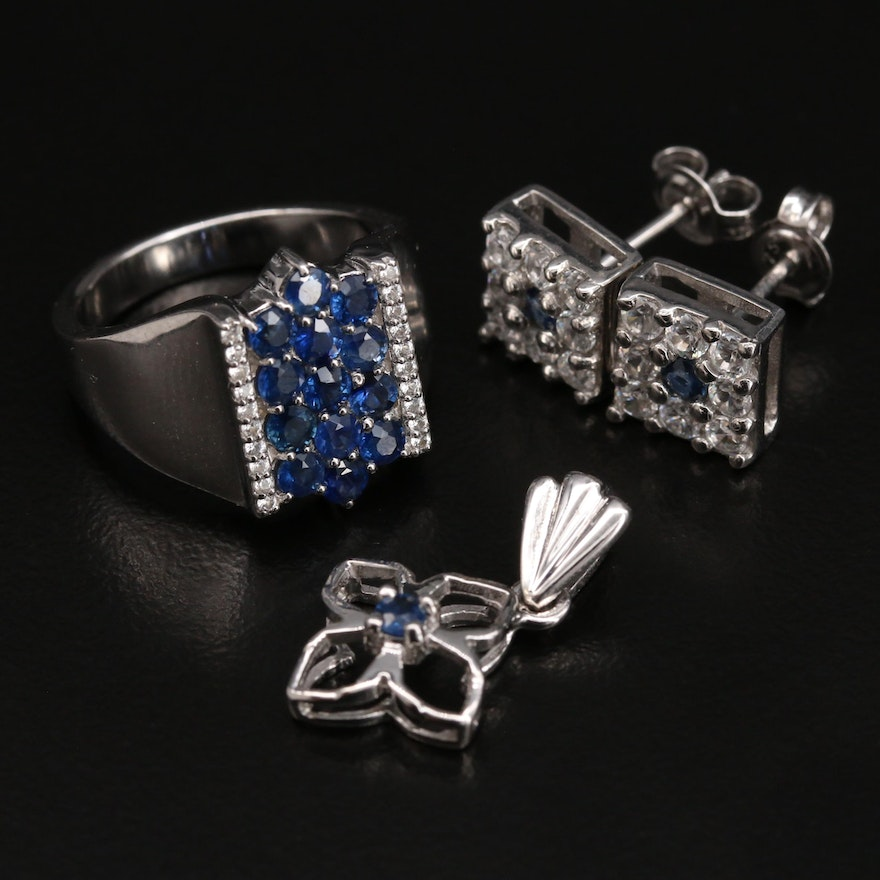 Sterling Jewelry Featuring Ring, Pendant and Earrings