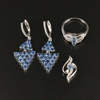 Sterling Sapphire and Zircon Drop Earrings, Ring and Pendant