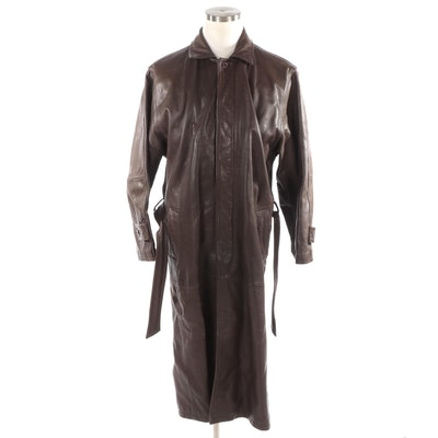 Men's Philippe Monet Brown Leather Trench Coat with Tie Belt