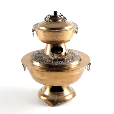 Korean Repoussé and Chased Brass Sin-Sul-Lo Hot Pot Braziers