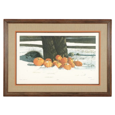 "Bob Timberlake Offset Lithograph ""Pumpkins in the Snow,"" Circa 1980"