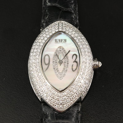 Effy White Mother of Pearl and 4.80 CTW Diamond Stainless Steel Wristwatch