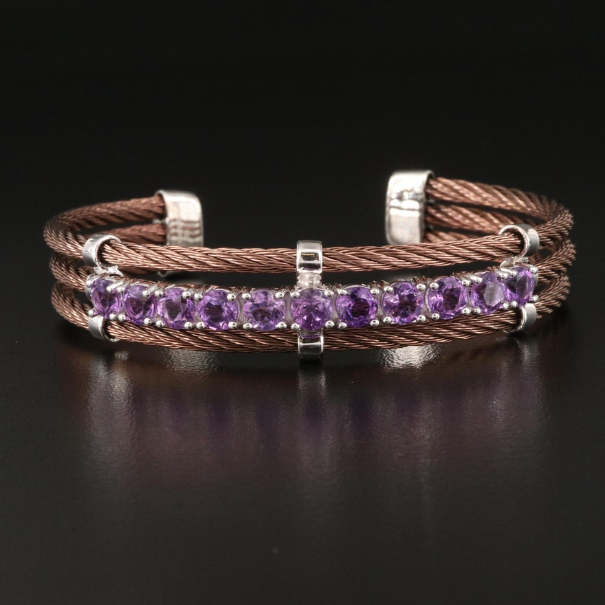 Stainless Steel Amethyst Triple Row Cable Cuff with Sterling Accents