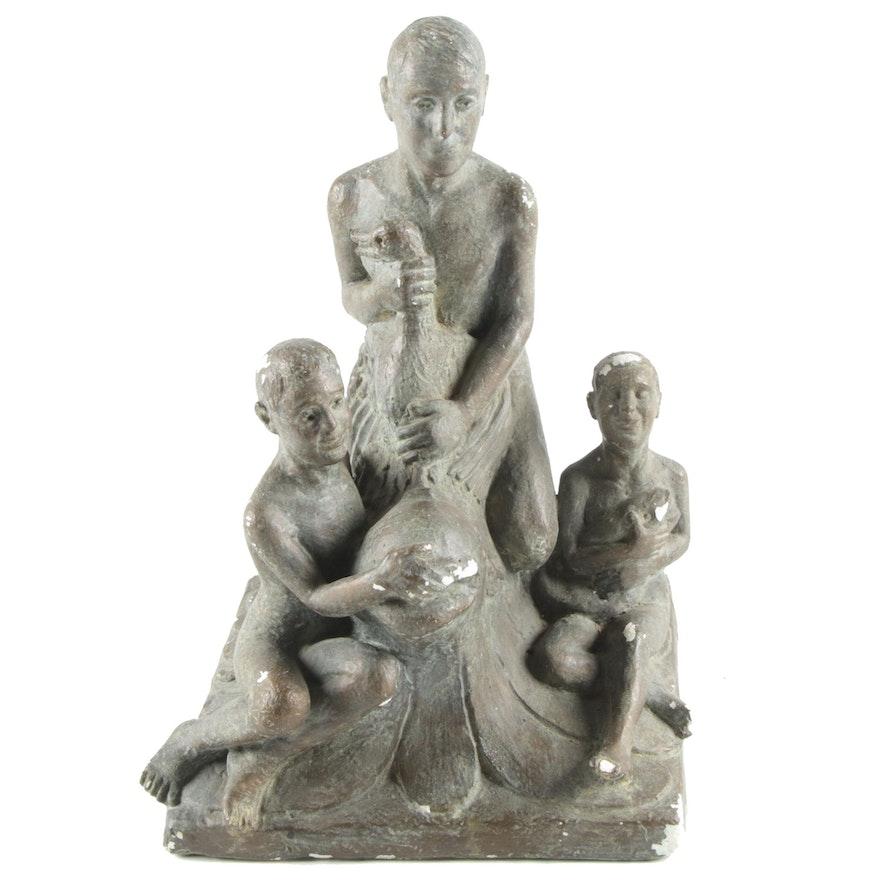 Figural Ceramic Sculpture of Boys, Goose, and Fish